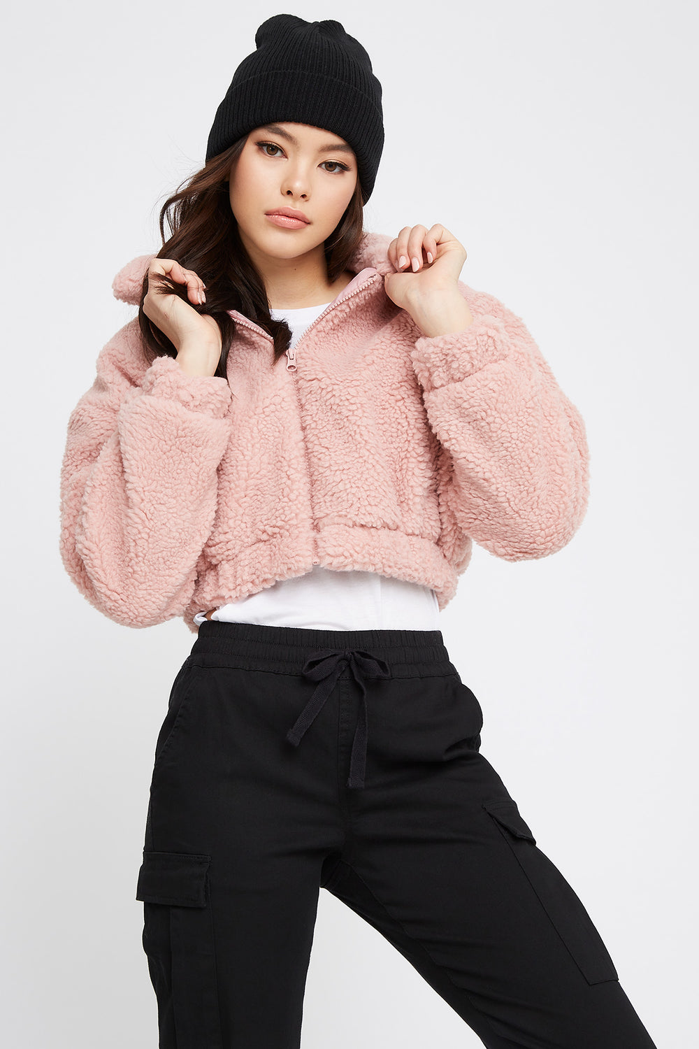 Cropped Sherpa Zip-Up Jacket Dusty Rose