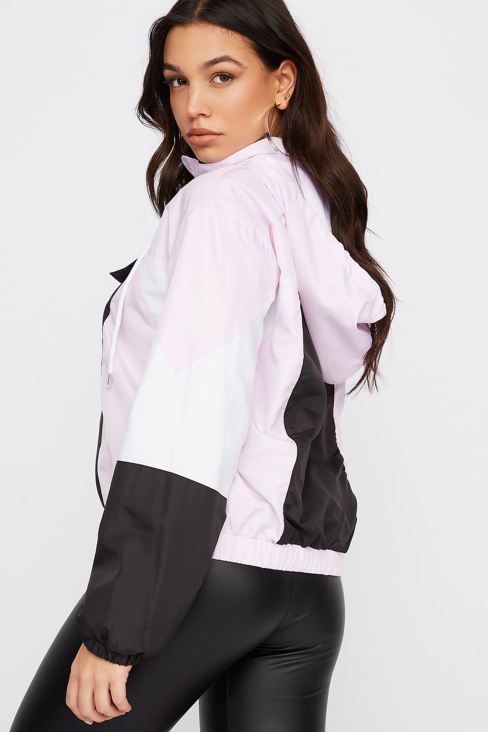 Graphic Anorak Windbreaker Hooded Jacket Lilac