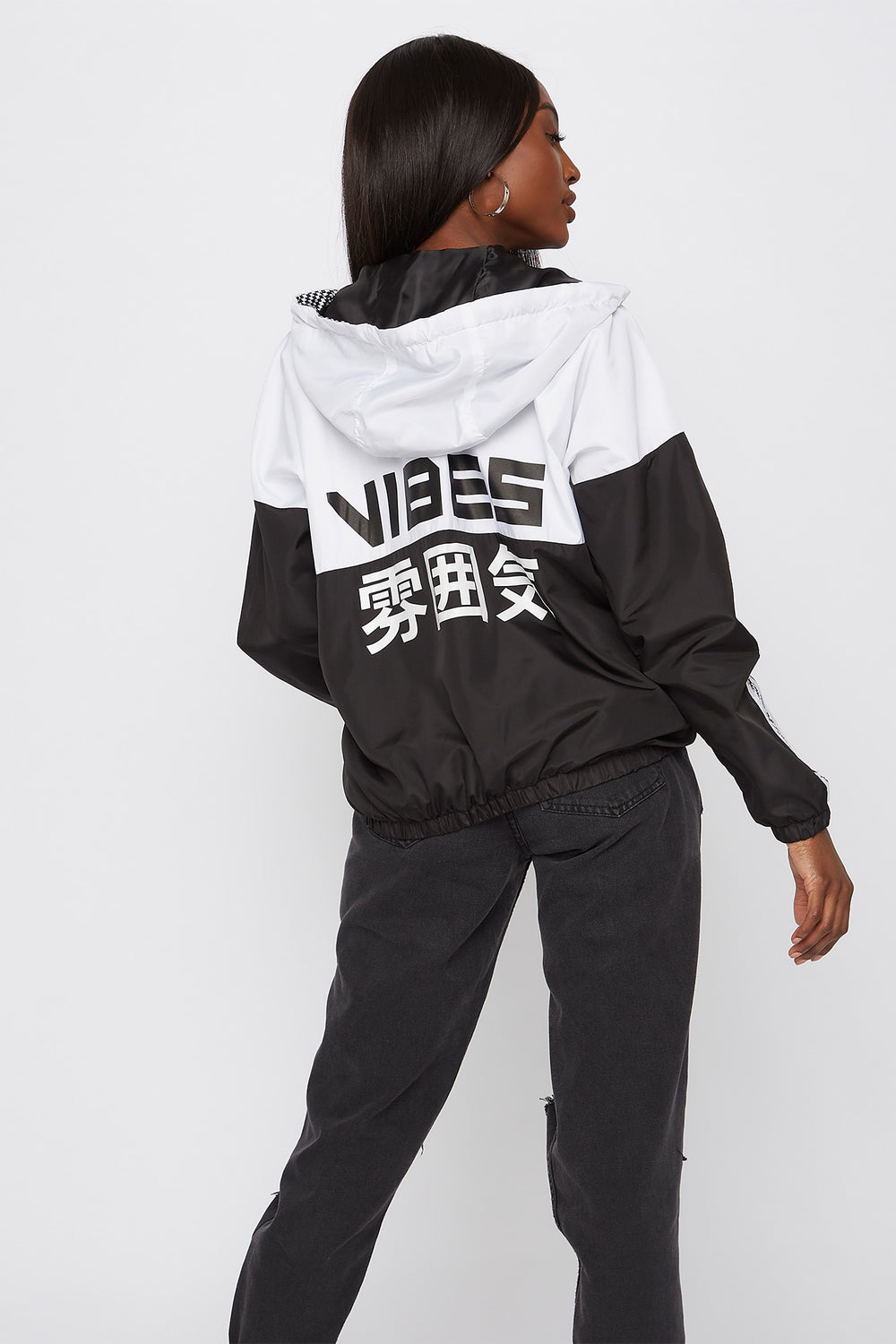 Graphic Colour Block Windbreaker Hoodie Black