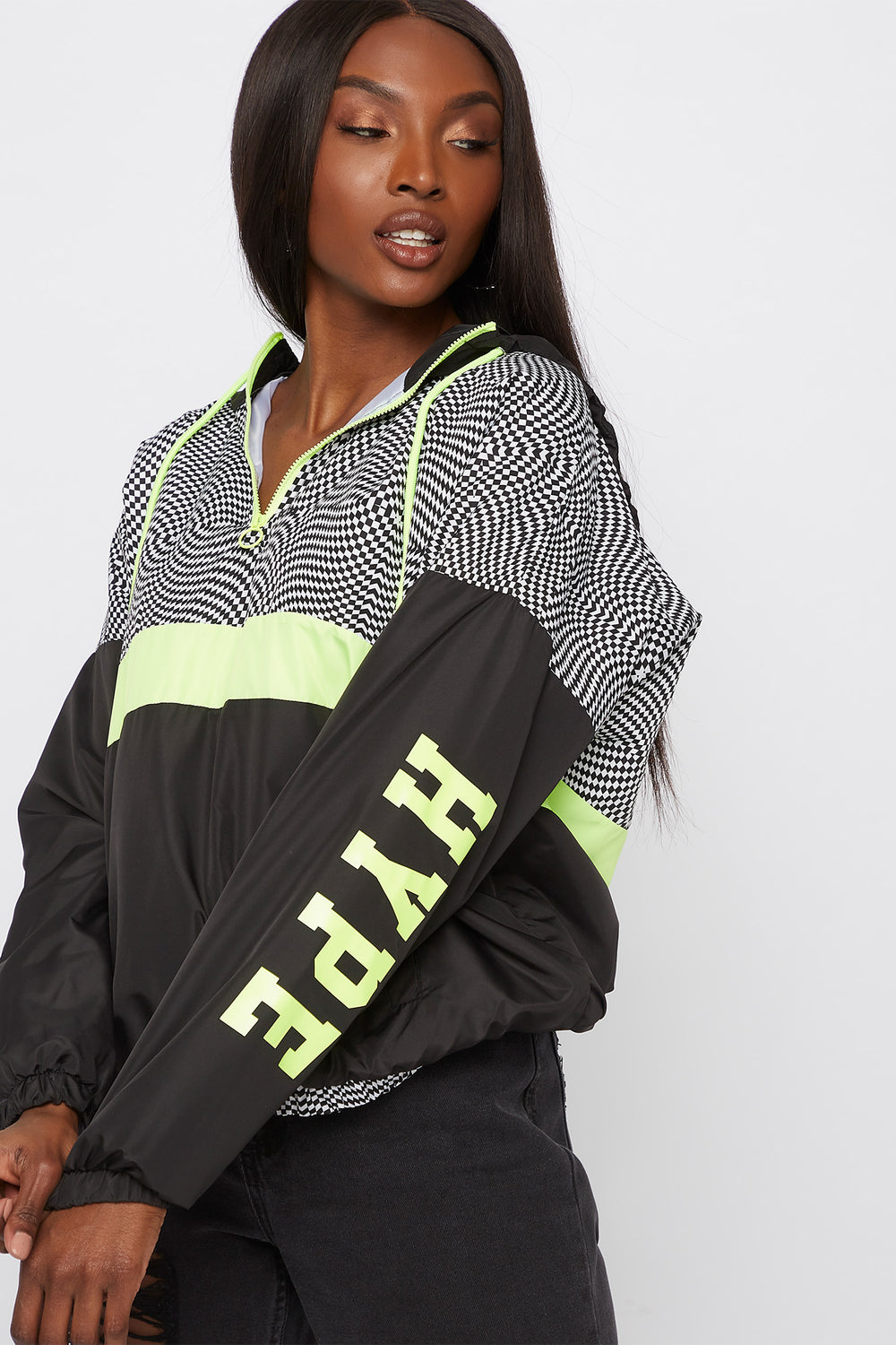 Graphic Colour Block Windbreaker Hoodie Neon Yellow