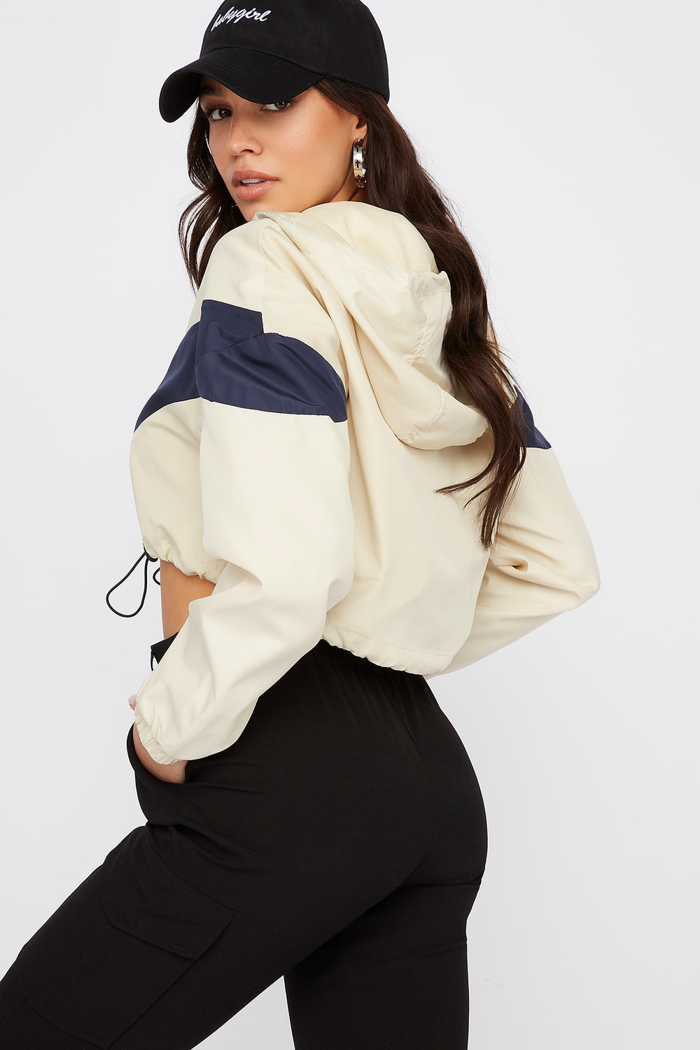 Cropped Colour Block  Zip-Up Windbreaker Hooded Jacket Tan