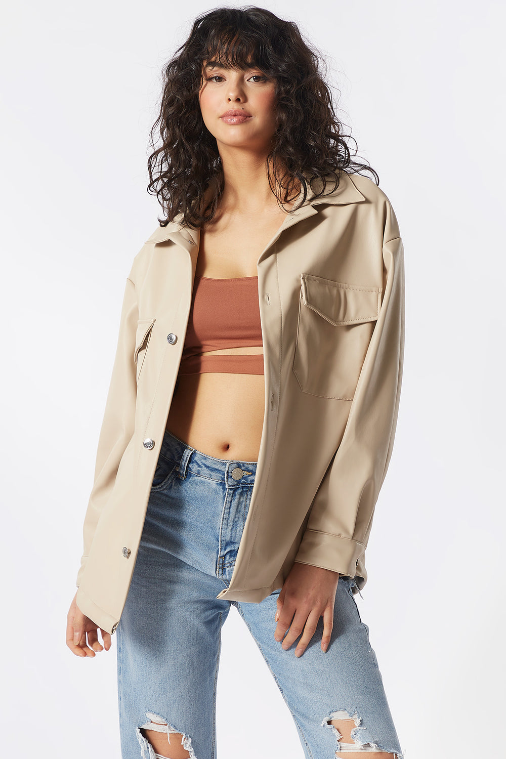 Faux-Leather Button-Up Shirt Jacket Tan
