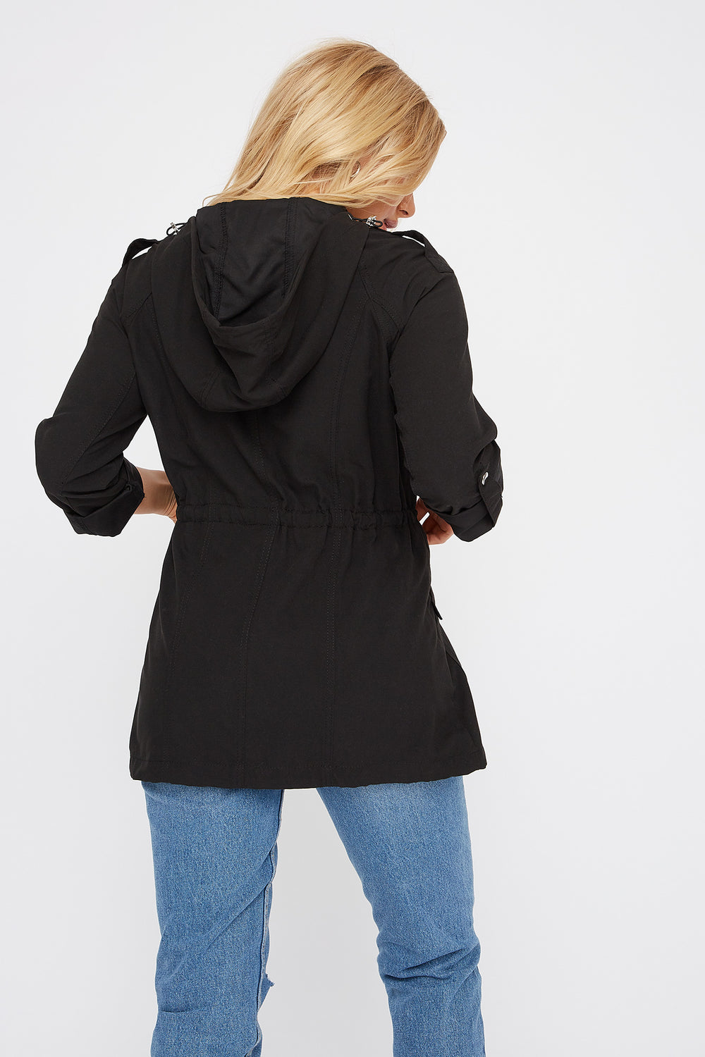 Drawstring Lightweight Roll-Tab Jacket Black