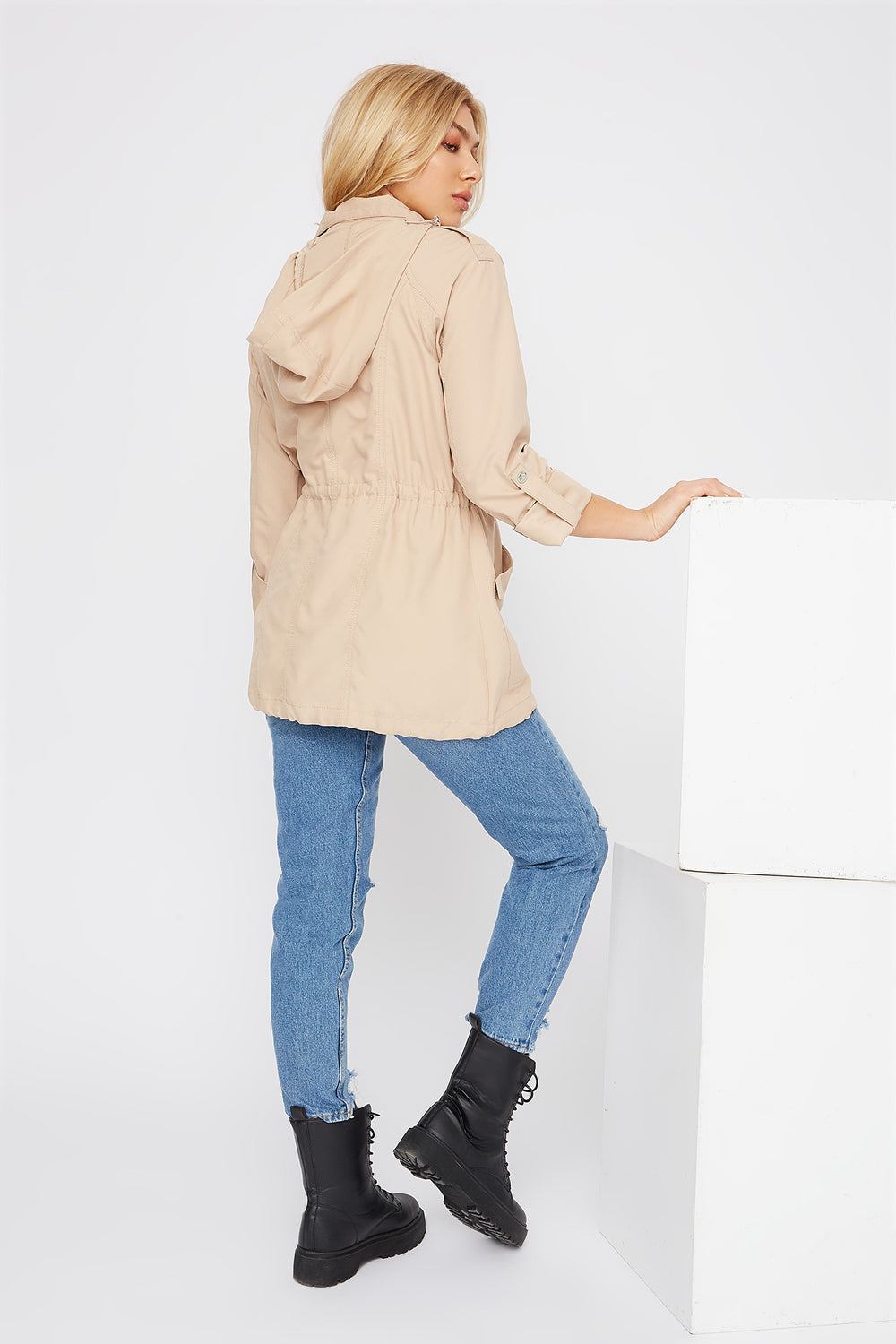 Drawstring Lightweight Roll-Tab Jacket Sand