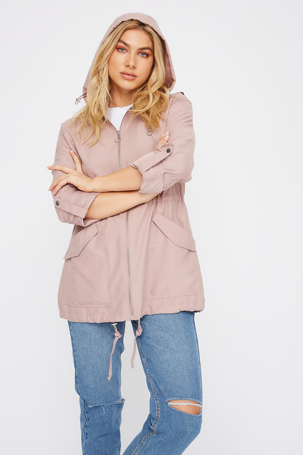 Drawstring Lightweight Roll-Tab Jacket Mauve