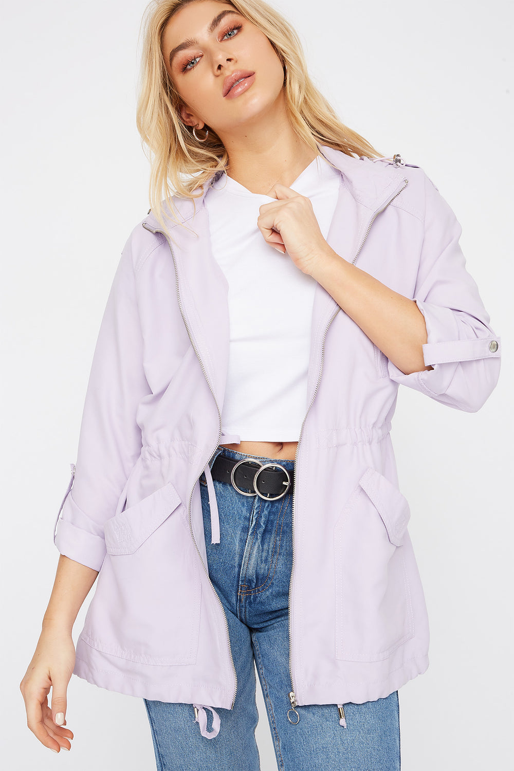 Drawstring Lightweight Roll-Tab Jacket Lilac