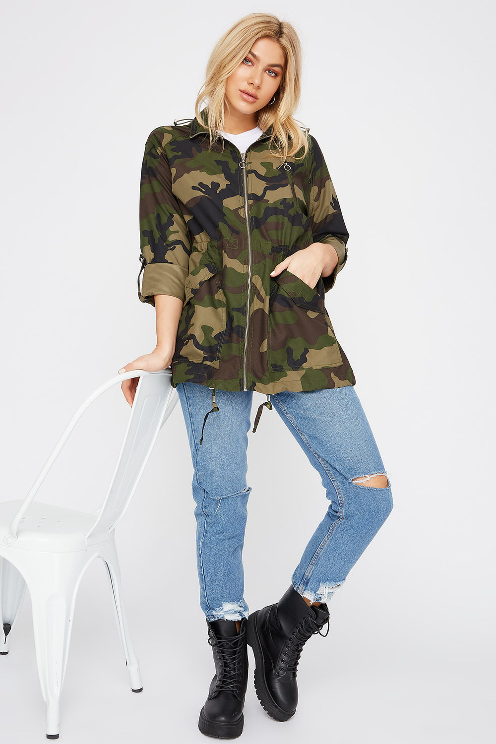 Drawstring Lightweight Roll-Tab Jacket Camouflage