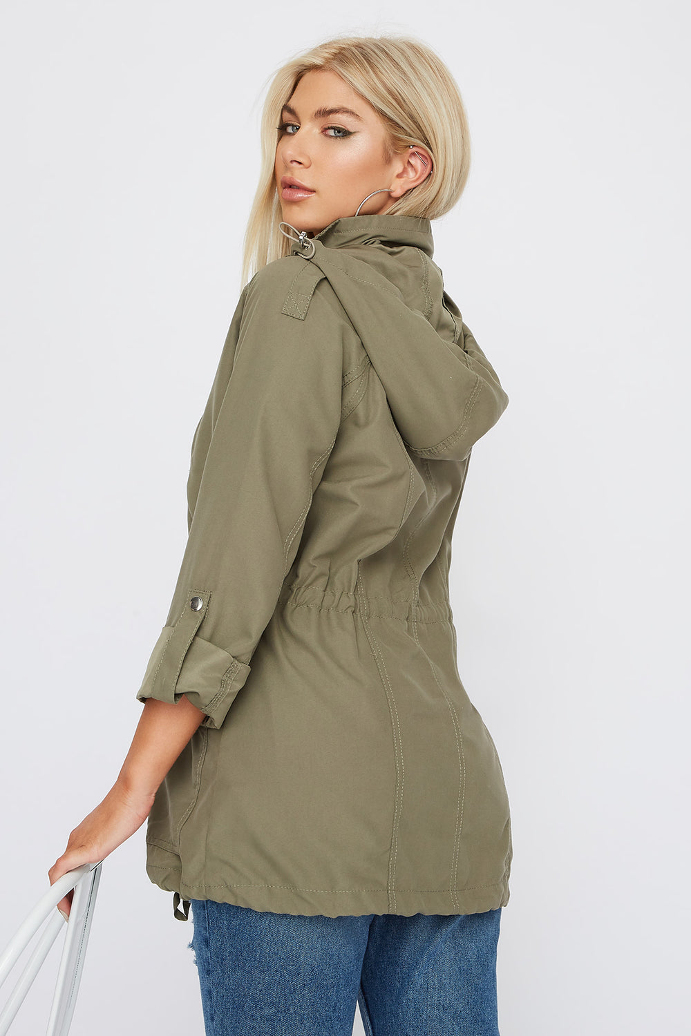 Drawstring Lightweight Roll-Tab Jacket Dark Green