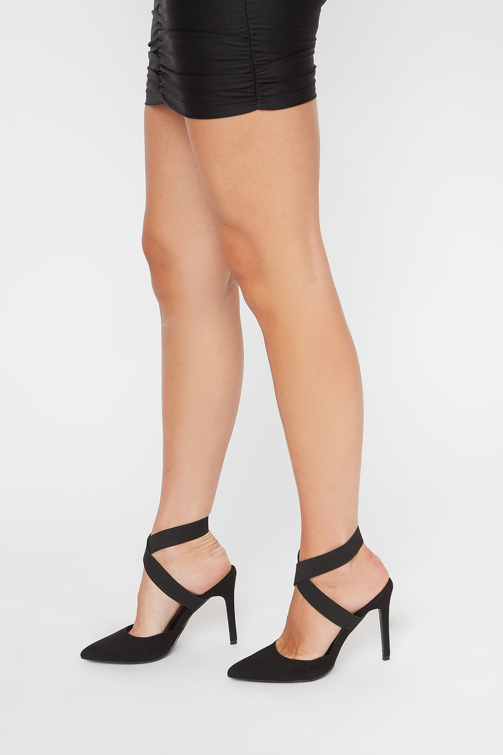 Elastic Strap Mule Pumps Black