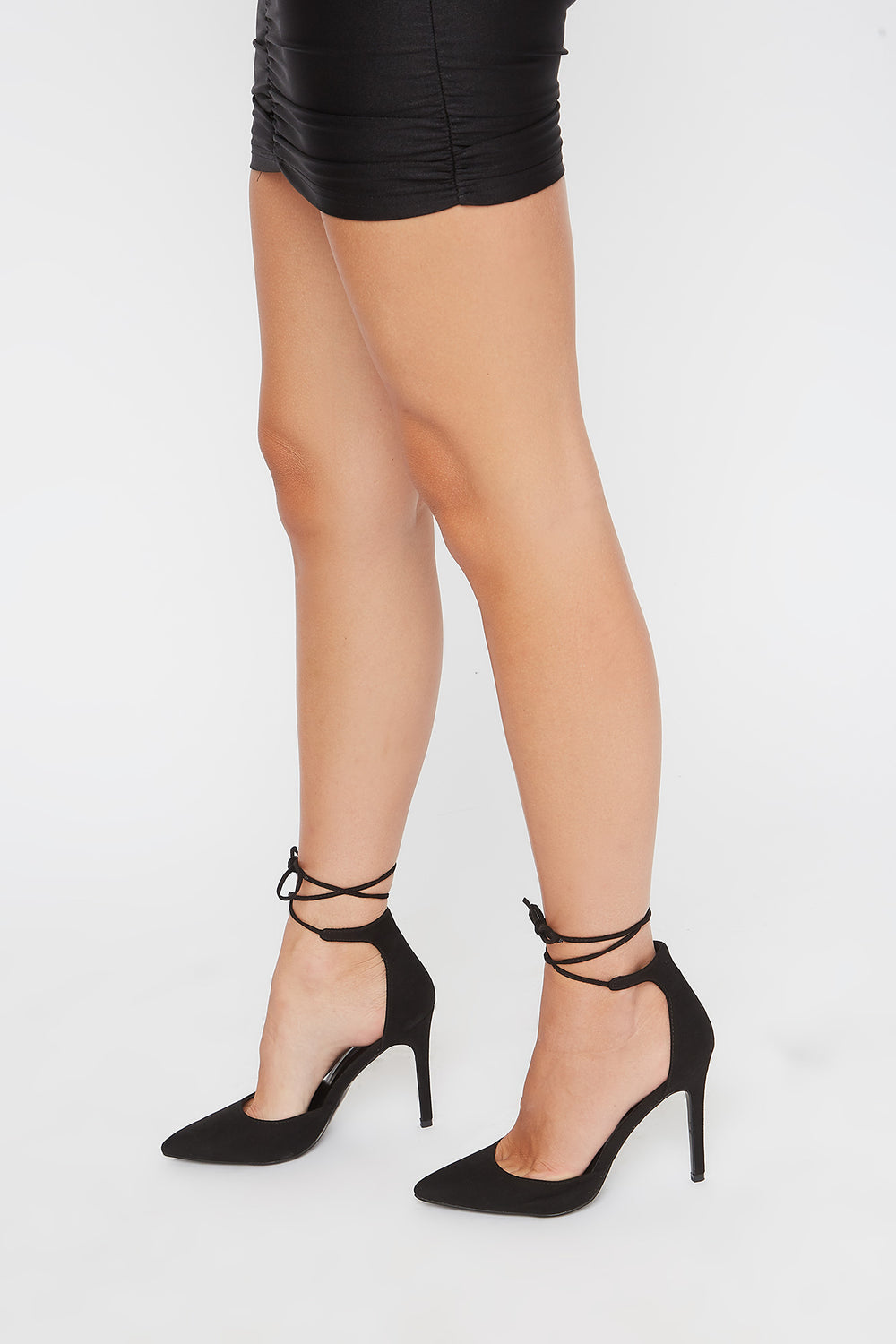 Ankle Tie Stiletto Pumps Black
