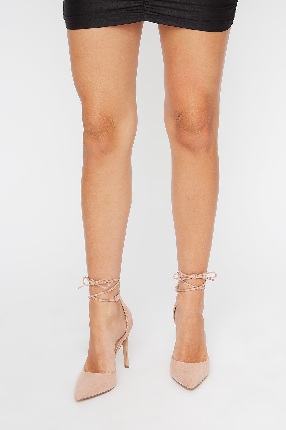 Ankle Tie Stiletto Pumps Light Pink