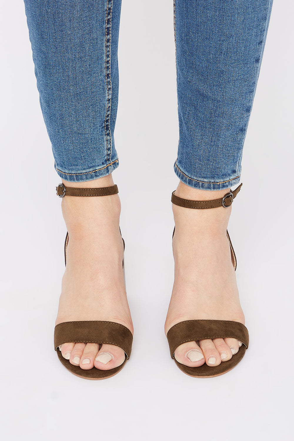 Open Heel Block Heel Sandal Dark Green