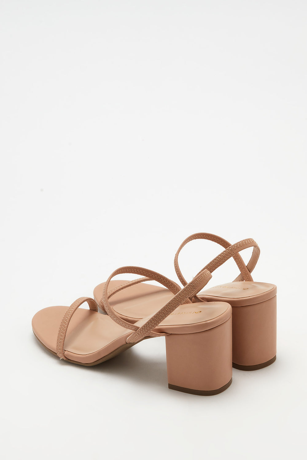 Strappy Mid Block Heel Sandal Natural