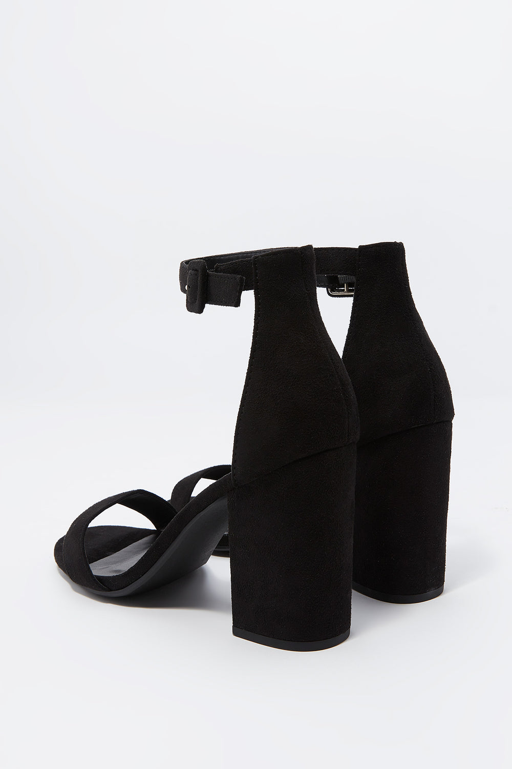 Open Toe Buckle Strap Block Heel Sandal Black