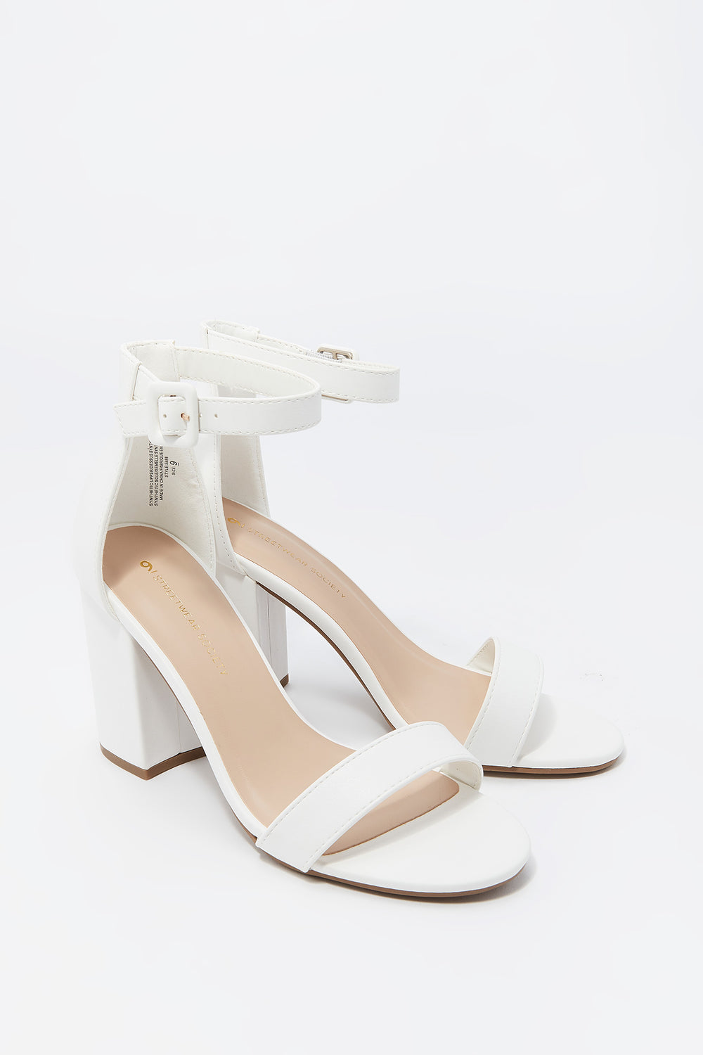 Open Toe Buckle Strap Block Heel Sandal White