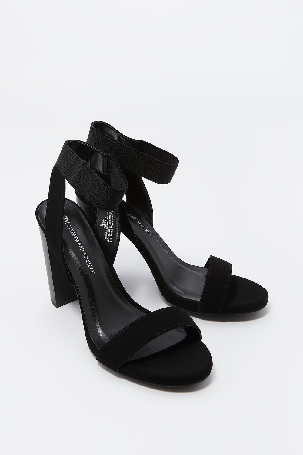 Open Toe Elastic Strap High Block Heel Sandal Black