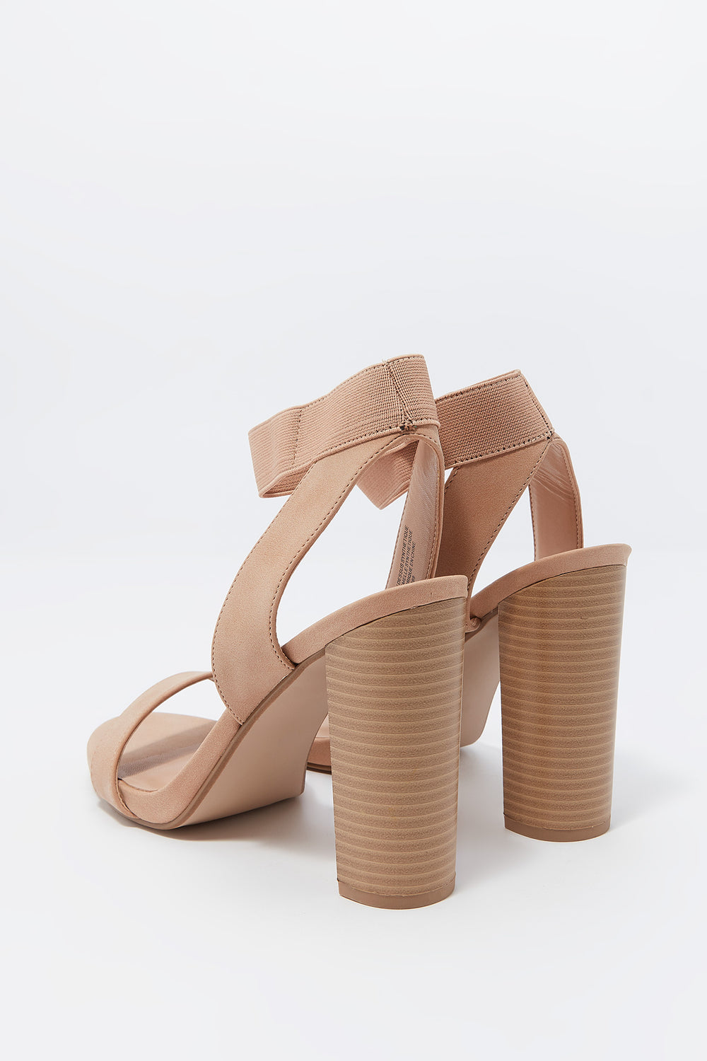 Open Toe Elastic Strap High Block Heel Sandal Natural