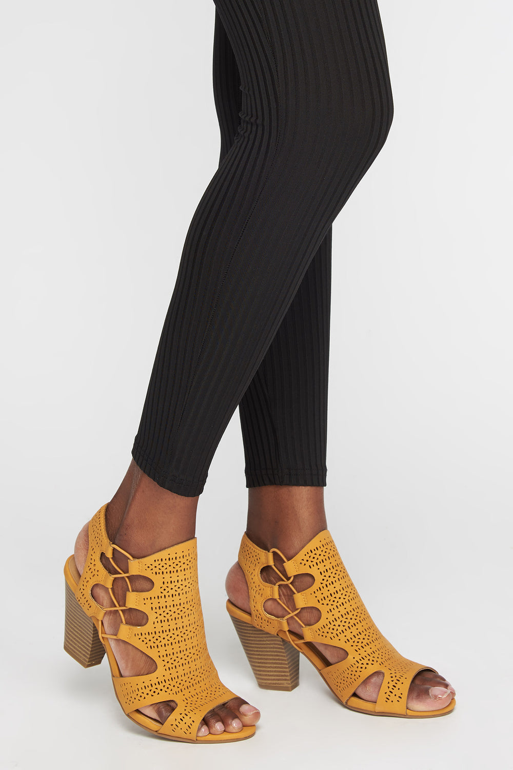 Perforated Block Heel Sandal Mustard