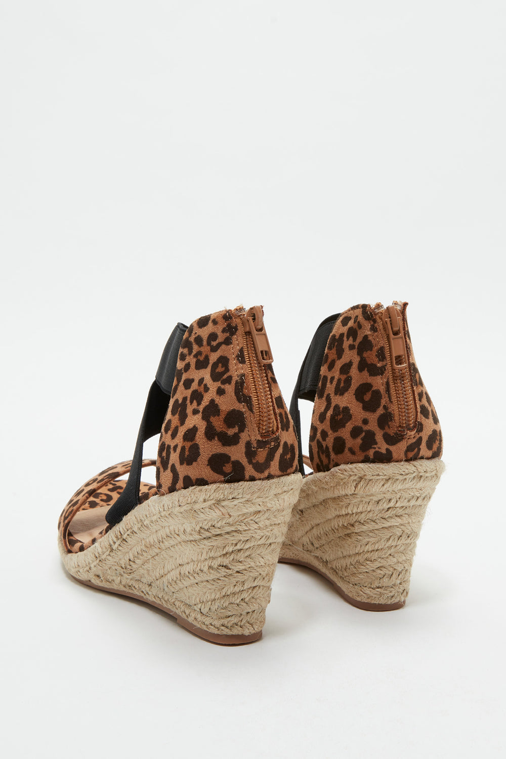 Criss Cross Band Wedge Sandal Leopard