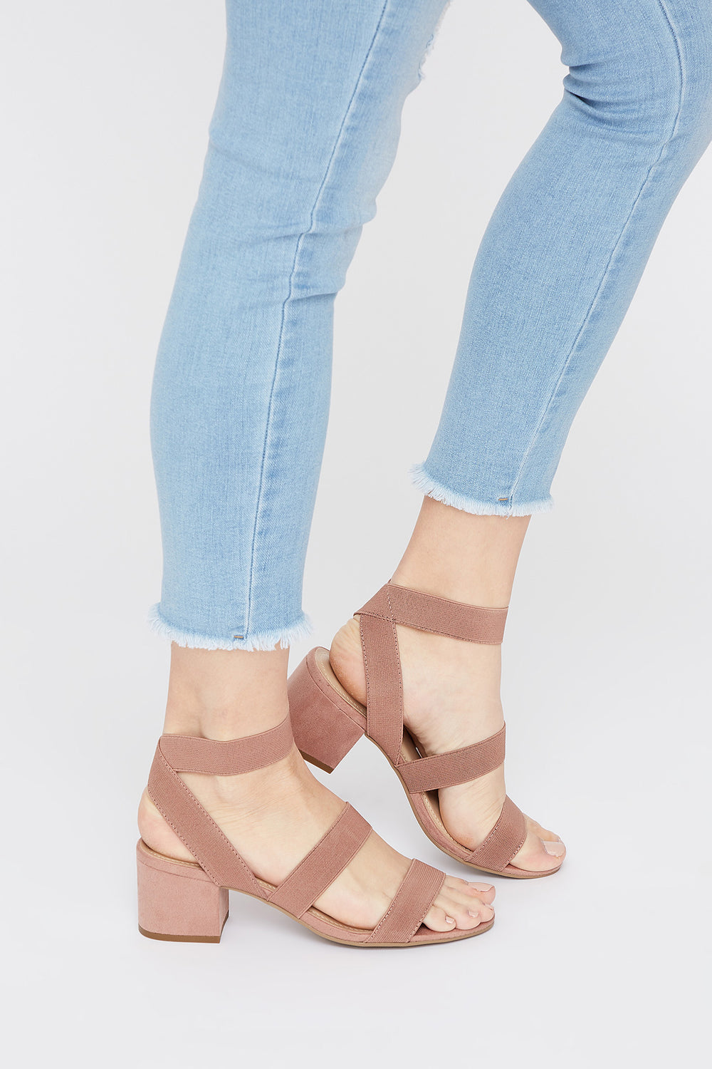 Elastic Multiband Block Heel Sandal Light Pink