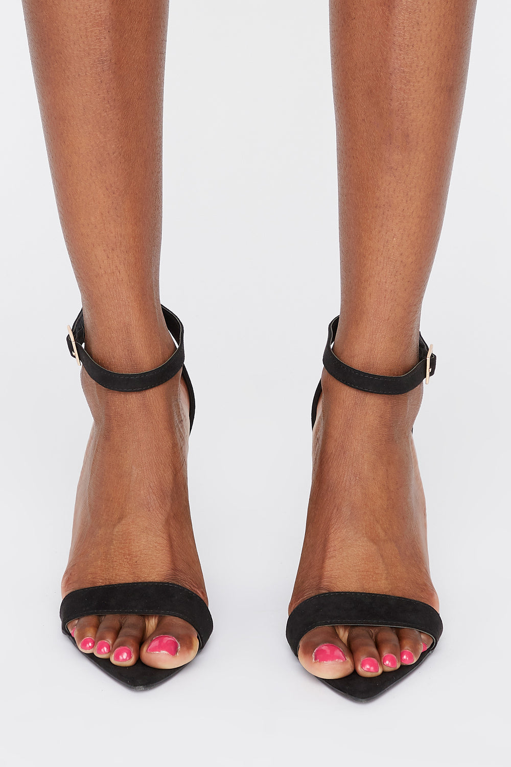 Pointed Open Toe Wedge Sandals Black