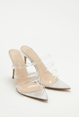 Clear Strappy Stiletto Pointed Mule
