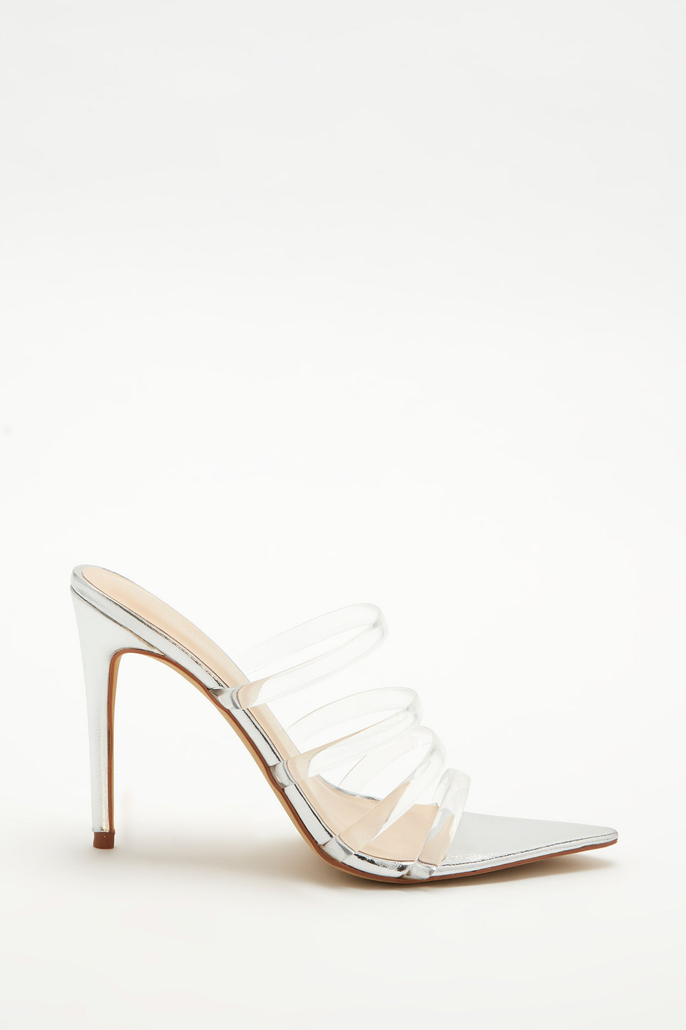 Clear Strappy Stiletto Pointed Mule Silver