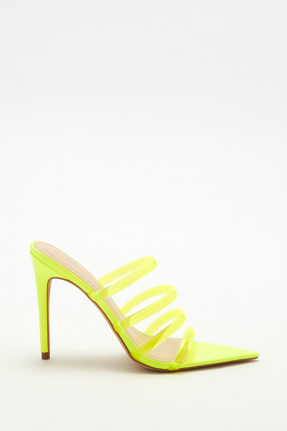Clear Strappy Stiletto Pointed Mule Neon Yellow