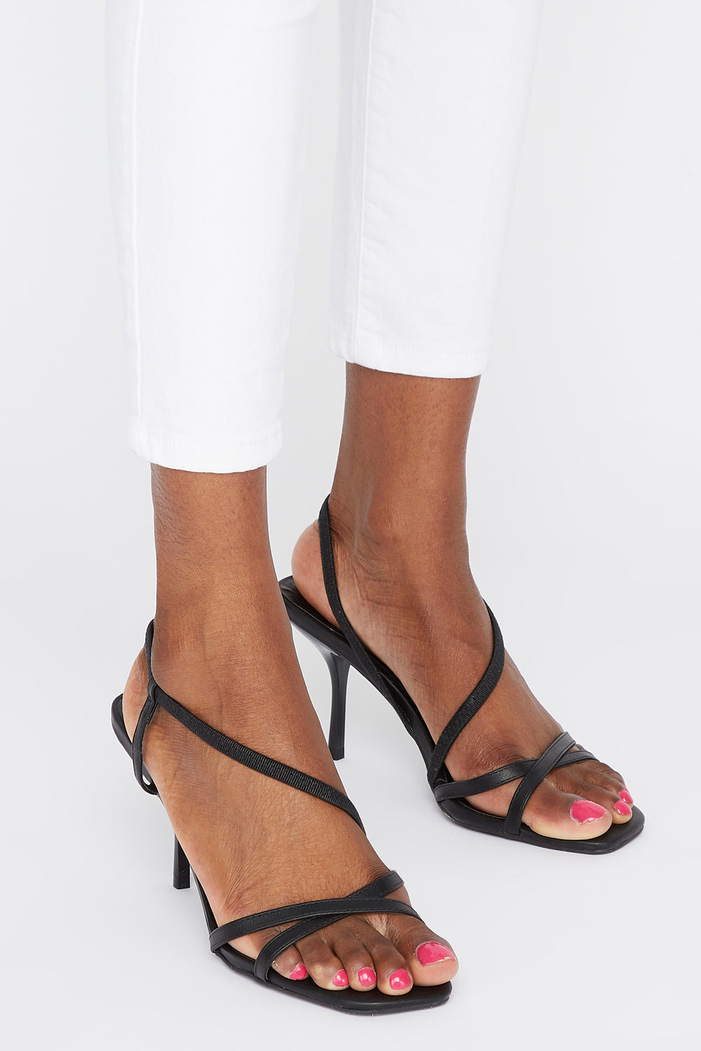 Strappy Mid Heel Sandal Plaid