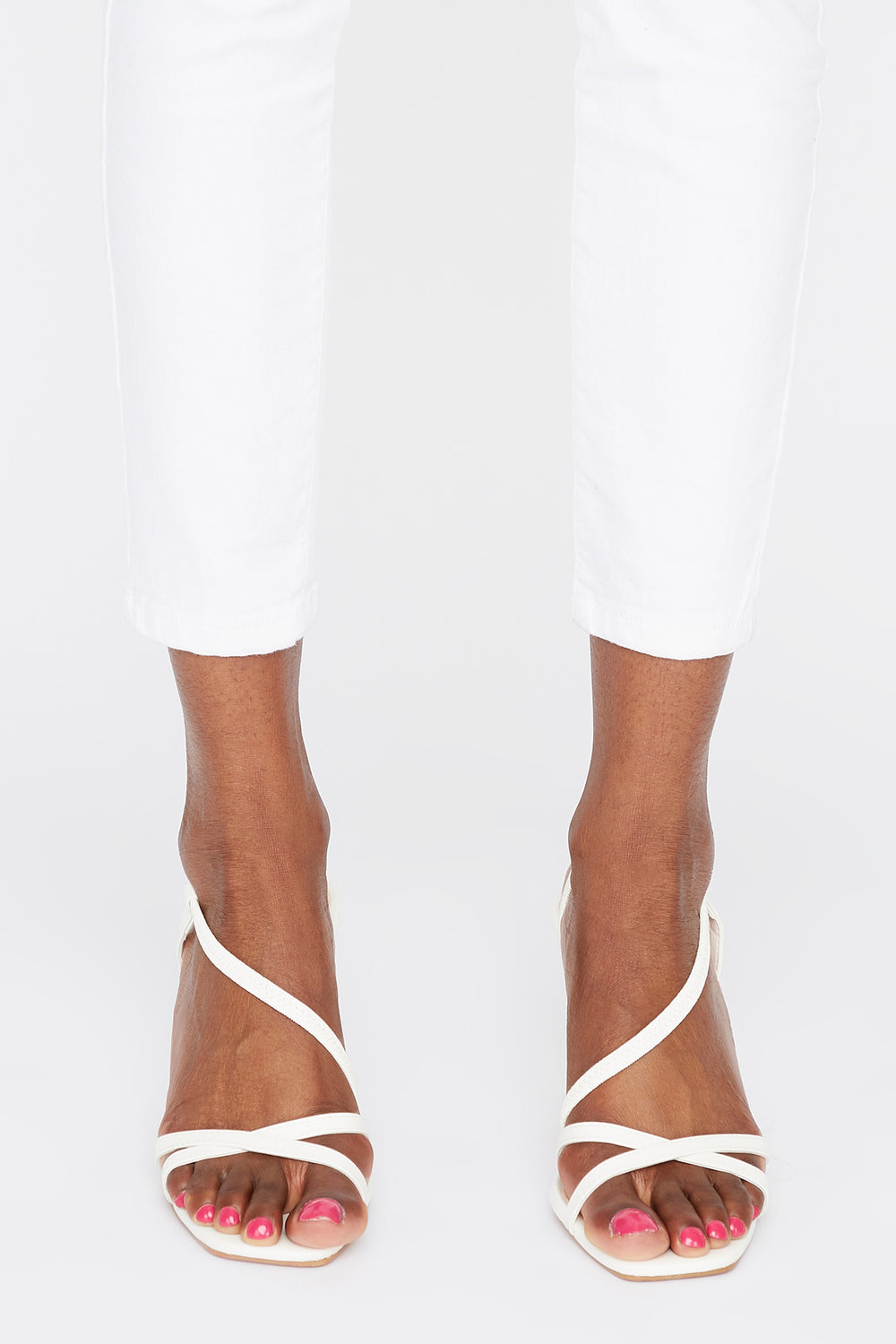 Strappy Mid Heel Sandal White