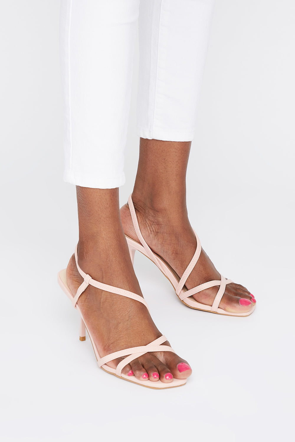 Strappy Mid Heel Sandal Light Pink