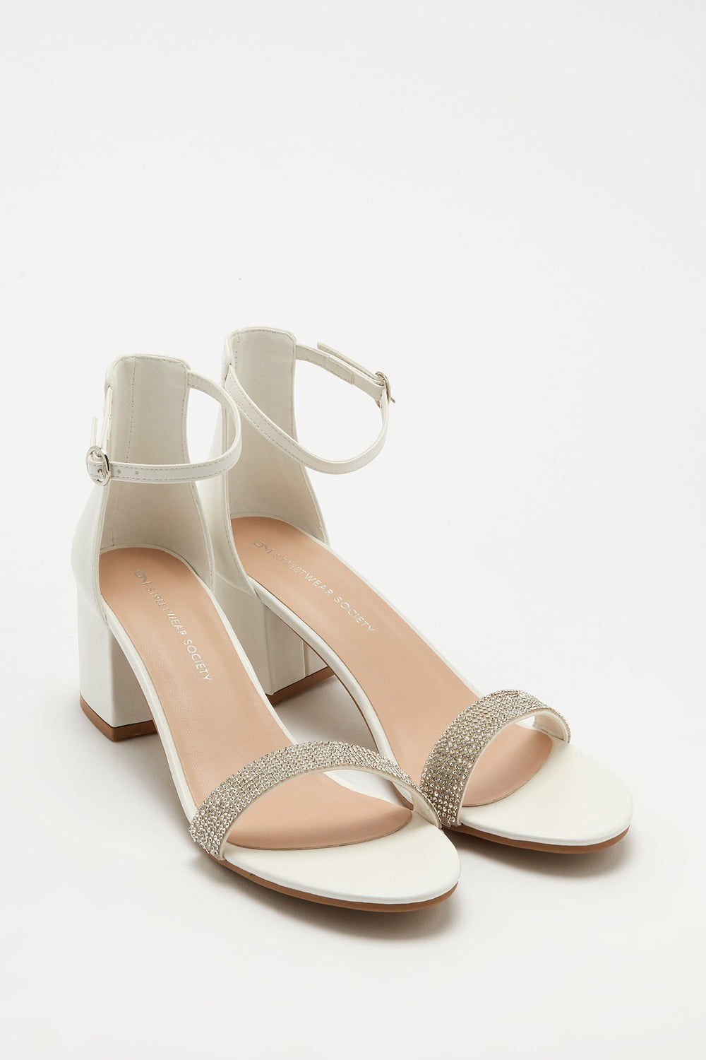 Open-Toe Block Heel Sandal White