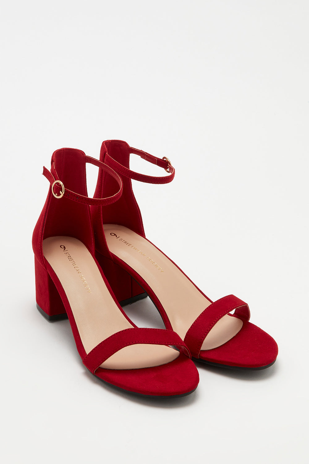 Open-Toe Block Heel Sandal Red