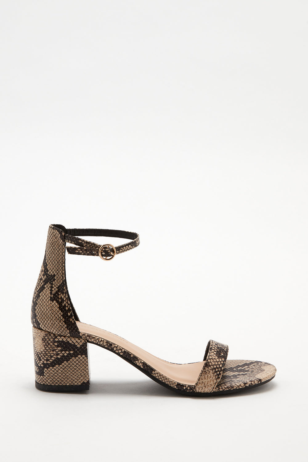 Open-Toe Block Heel Sandal Black with White