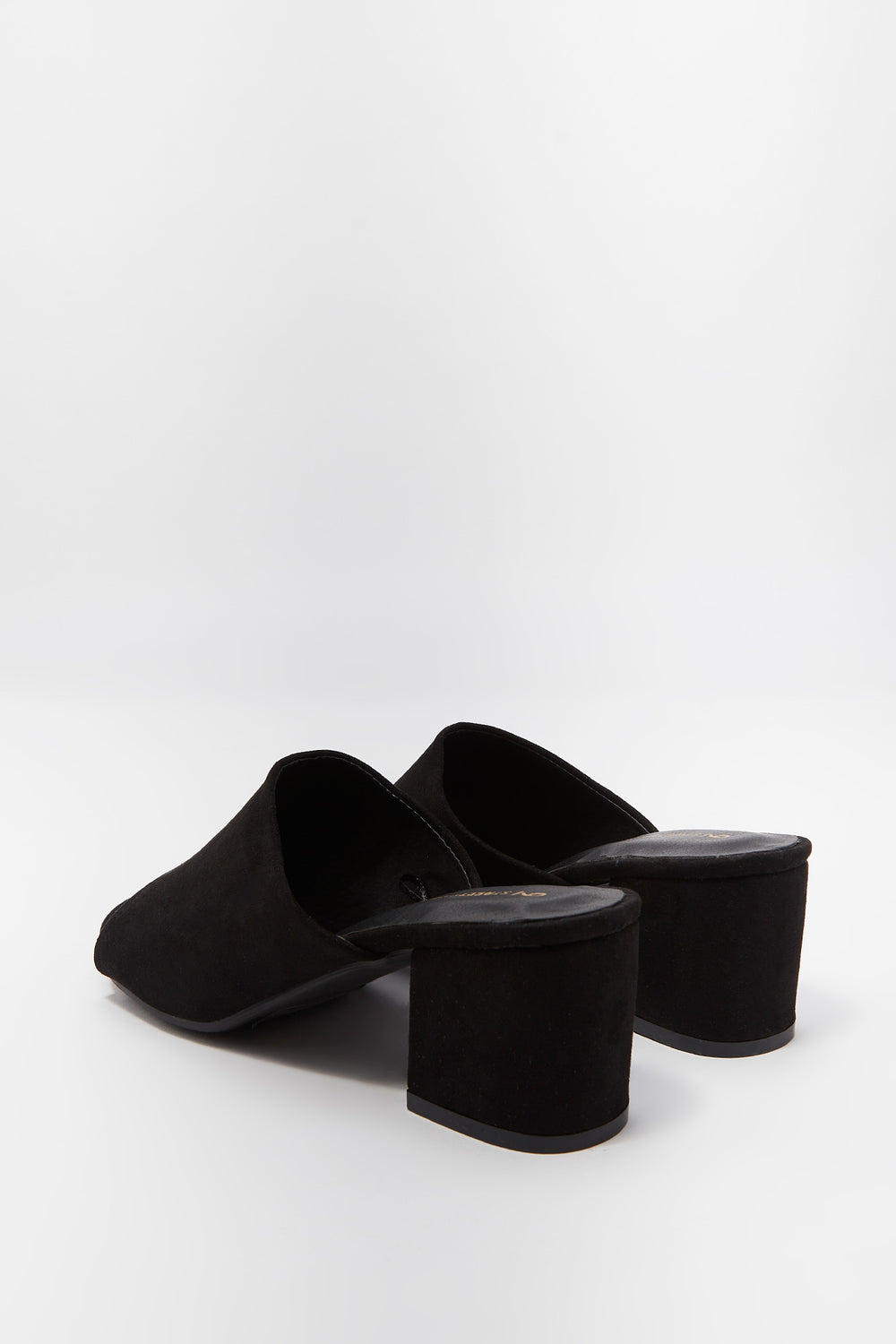 Open Toe Low Block Heel Mule Black