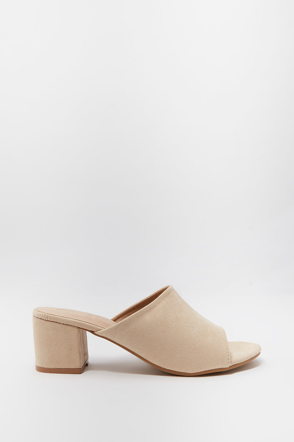 Open Toe Low Block Heel Mule Natural