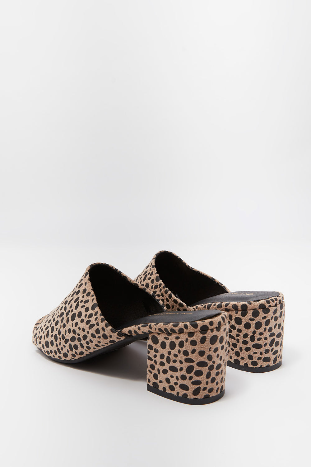 Printed Open Toe Low Block Heel Mule Leopard