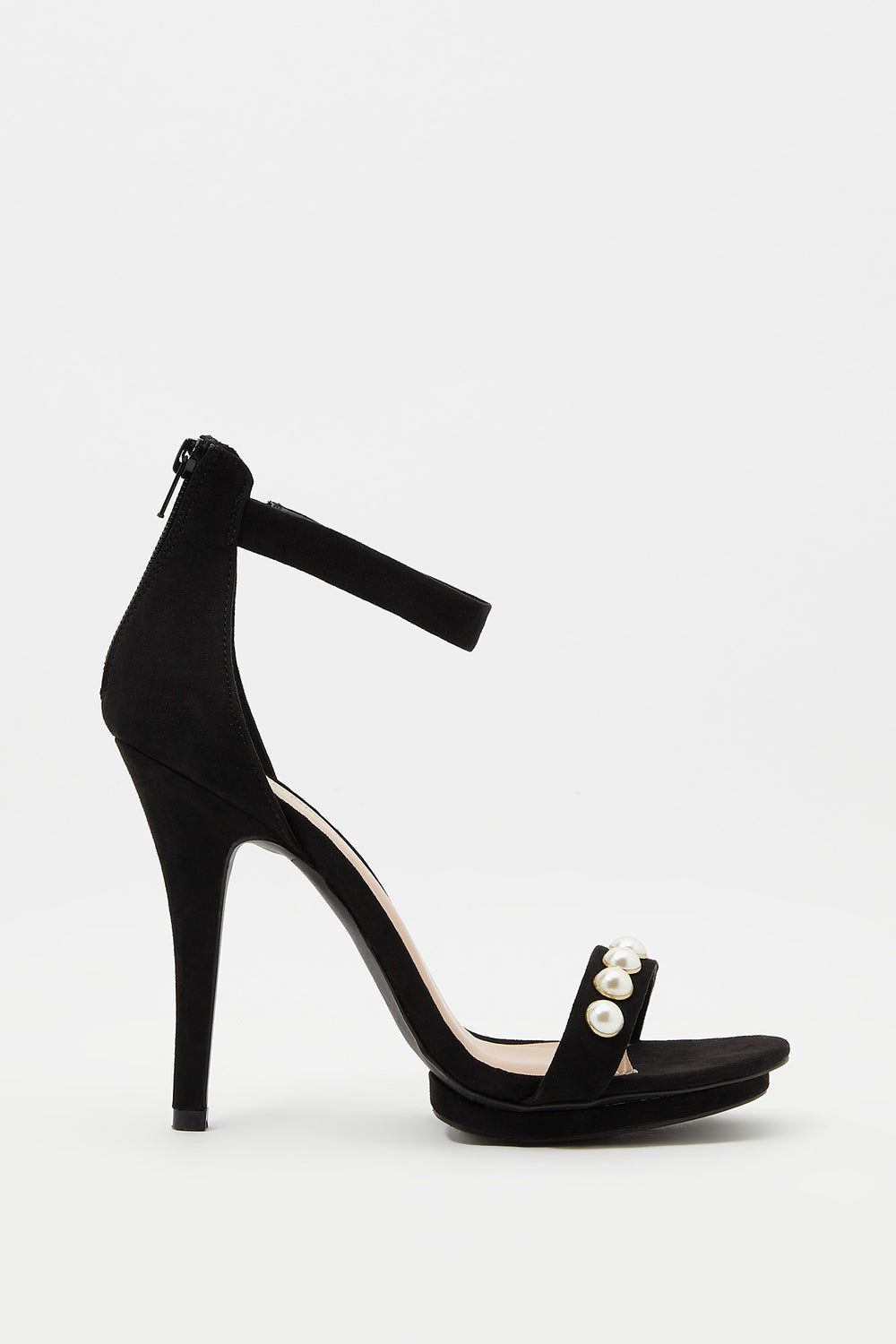 Pearl Strappy Stiletto Sandal Black