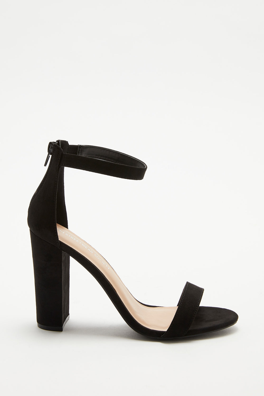 Block Heel Open-Toe Sandal Black