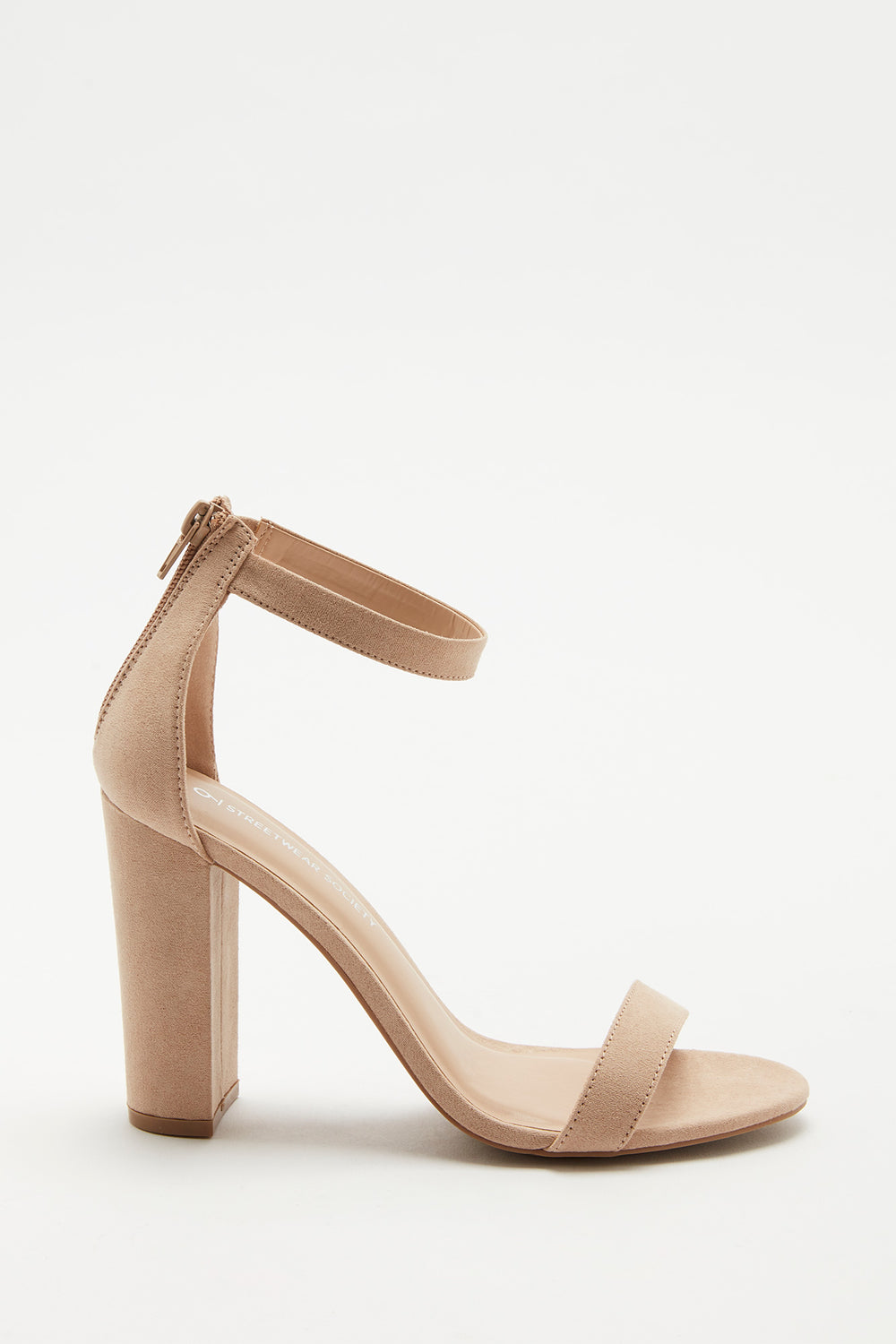 Block Heel Open-Toe Sandal Natural