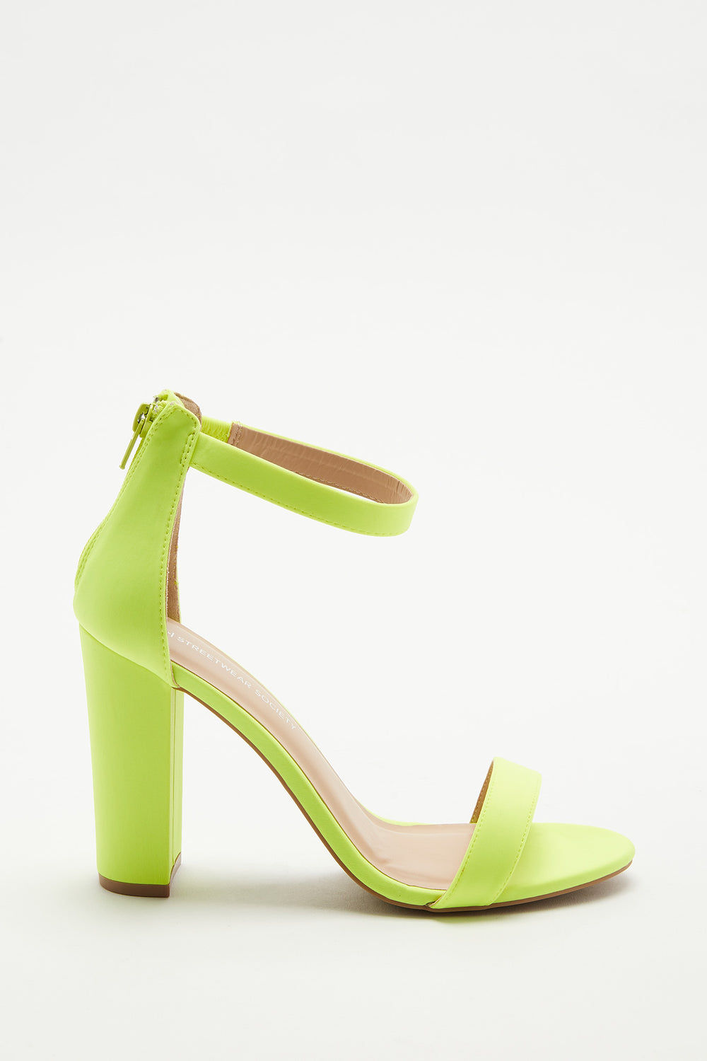 Block Heel Open-Toe Sandal Neon Yellow