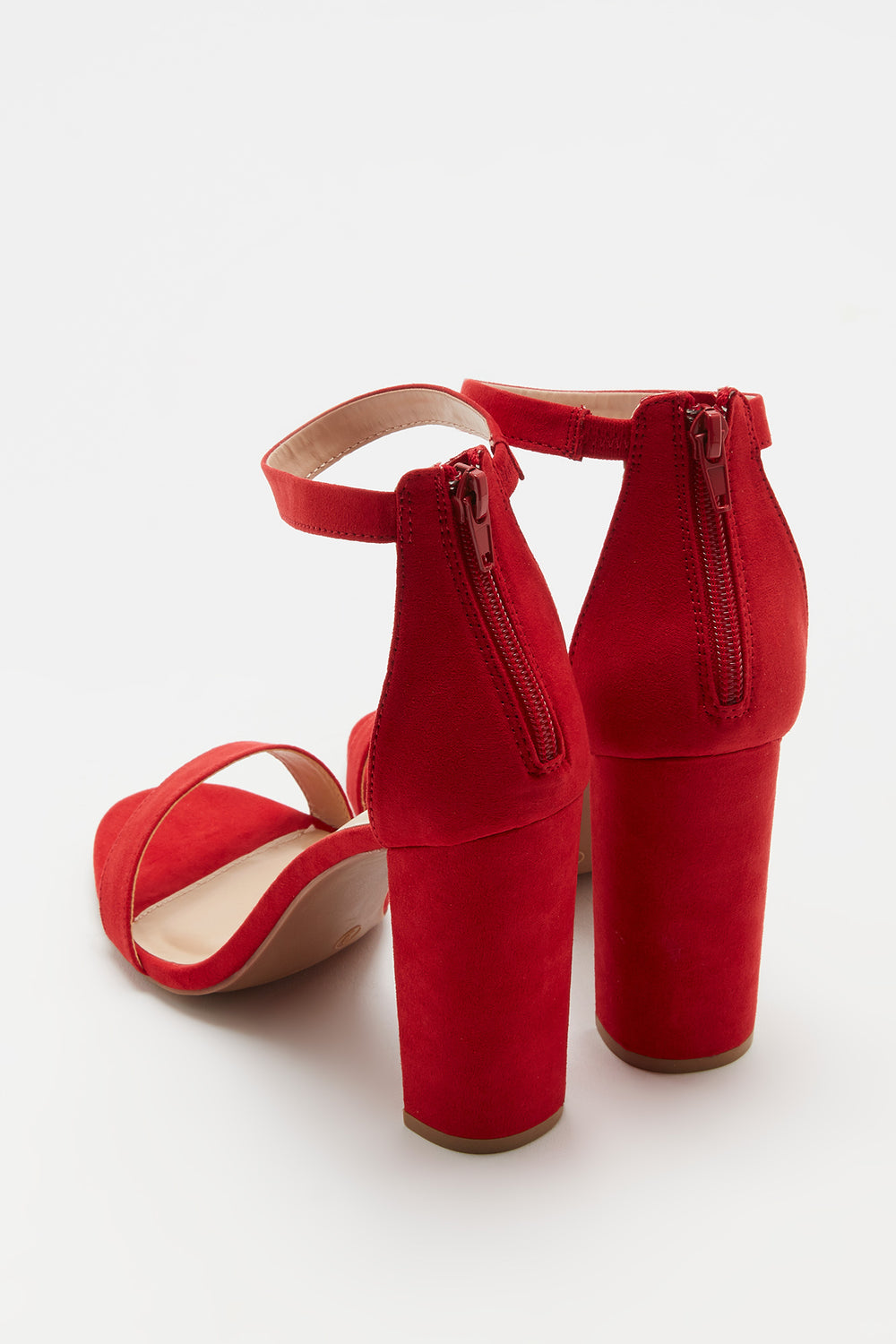 Block Heel Open-Toe Sandal Red