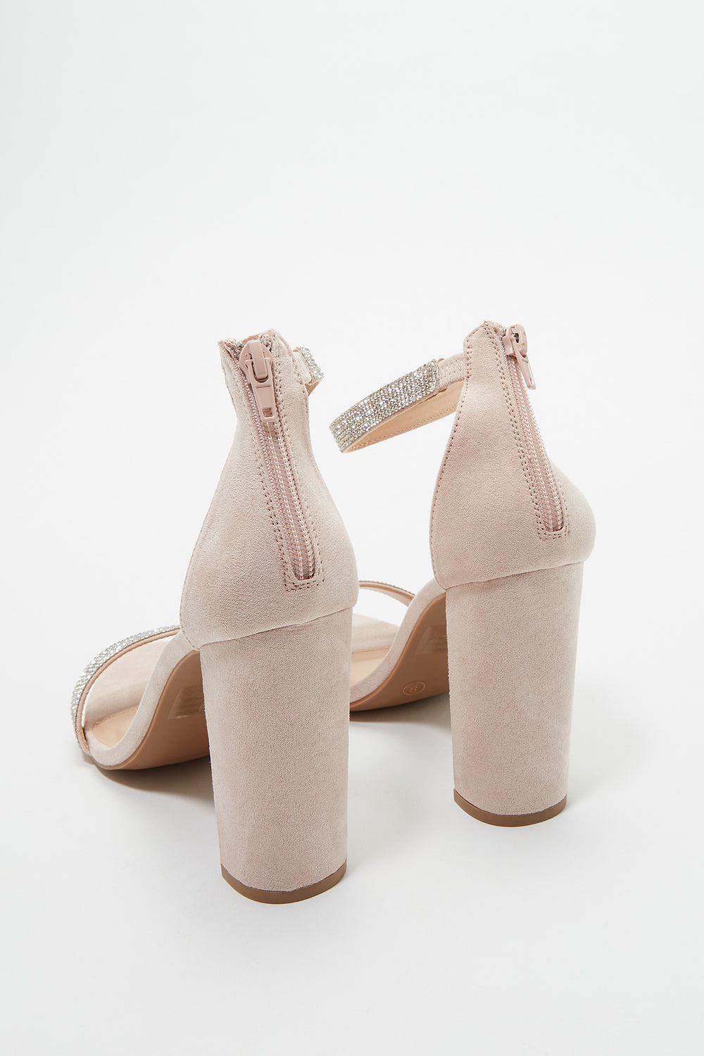 Block Heel Open-Toe Sandal Light Pink