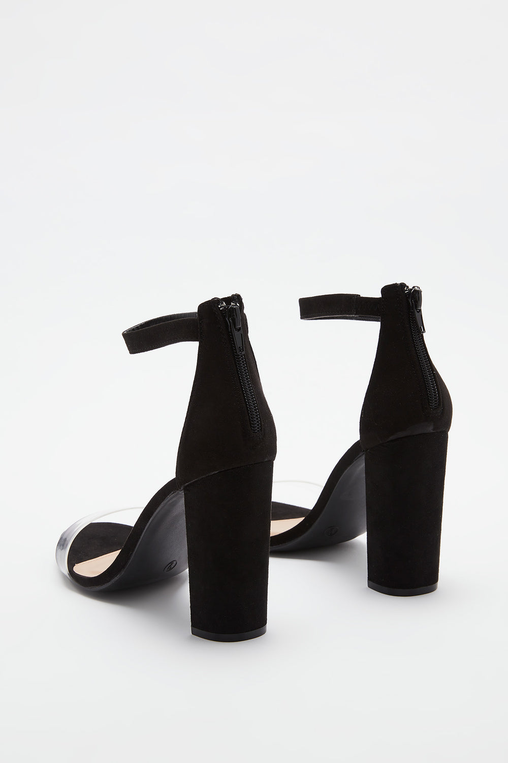 Clear Band Block Heel Sandal Black