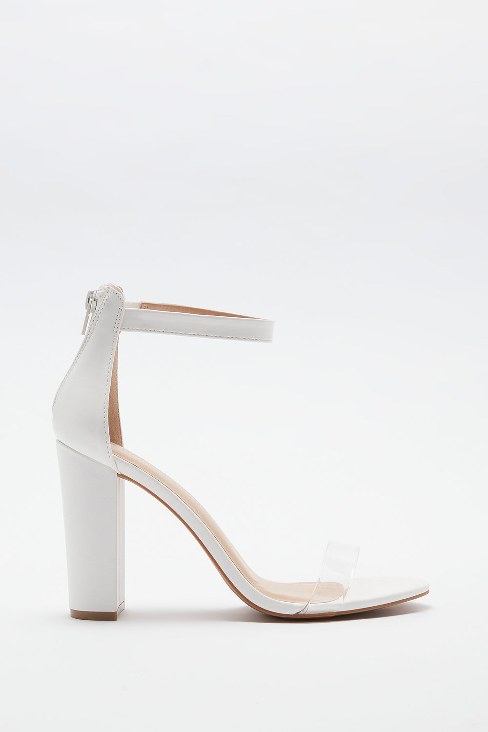 Clear Band Block Heel Sandal White