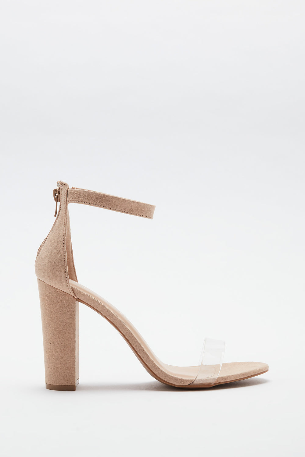Clear Band Block Heel Sandal Natural