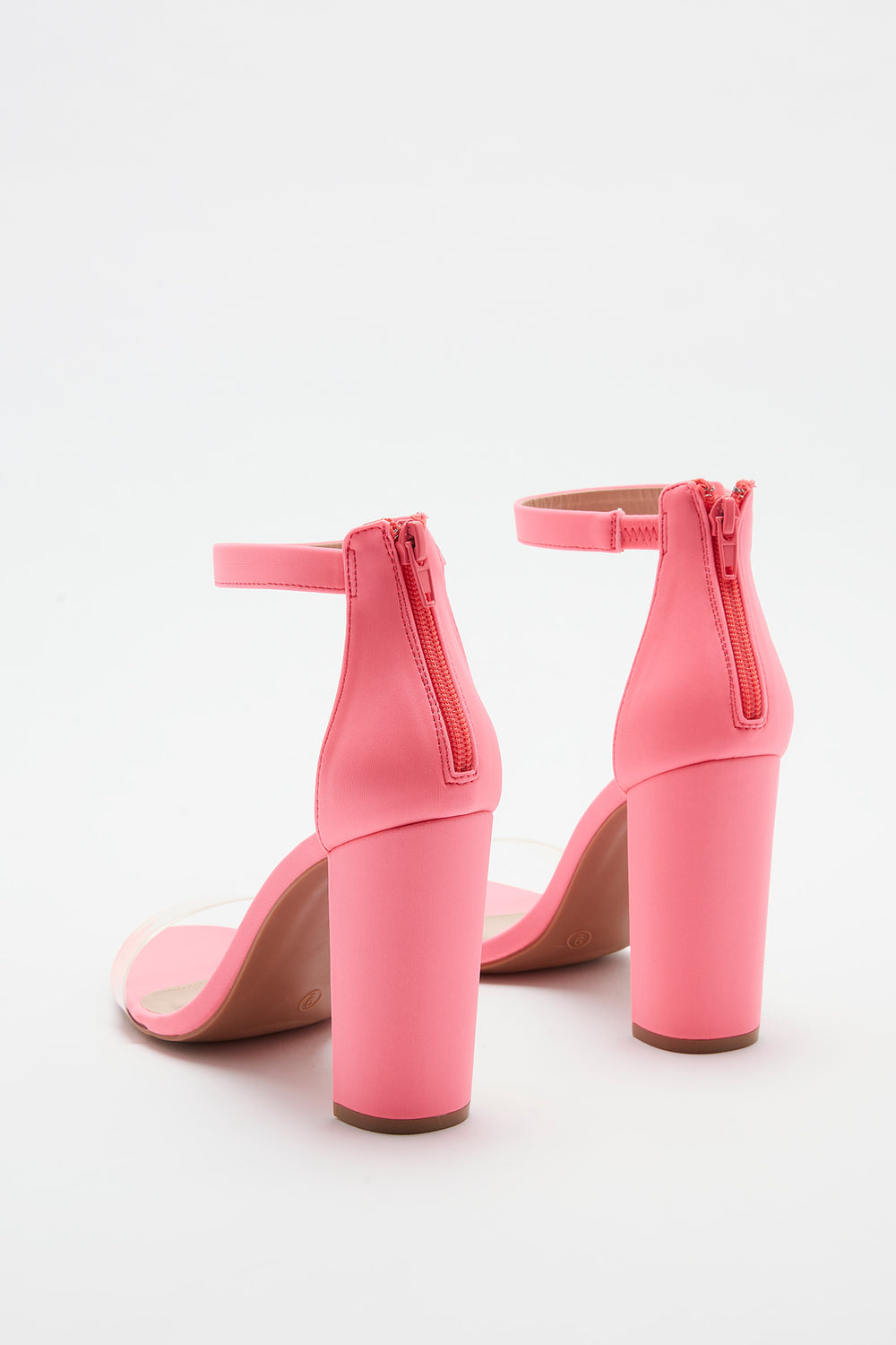 Clear Band Block Heel Sandal Neon Pink