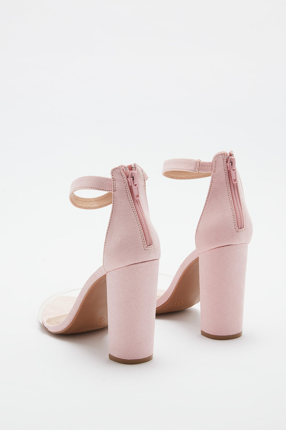Clear Band Block Heel Sandal Light Pink