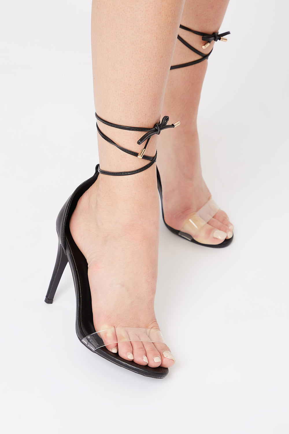 Clear Band Tie-Up Stiletto Sandal Black