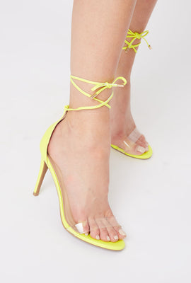 Clear Band Tie-Up Stiletto Sandal